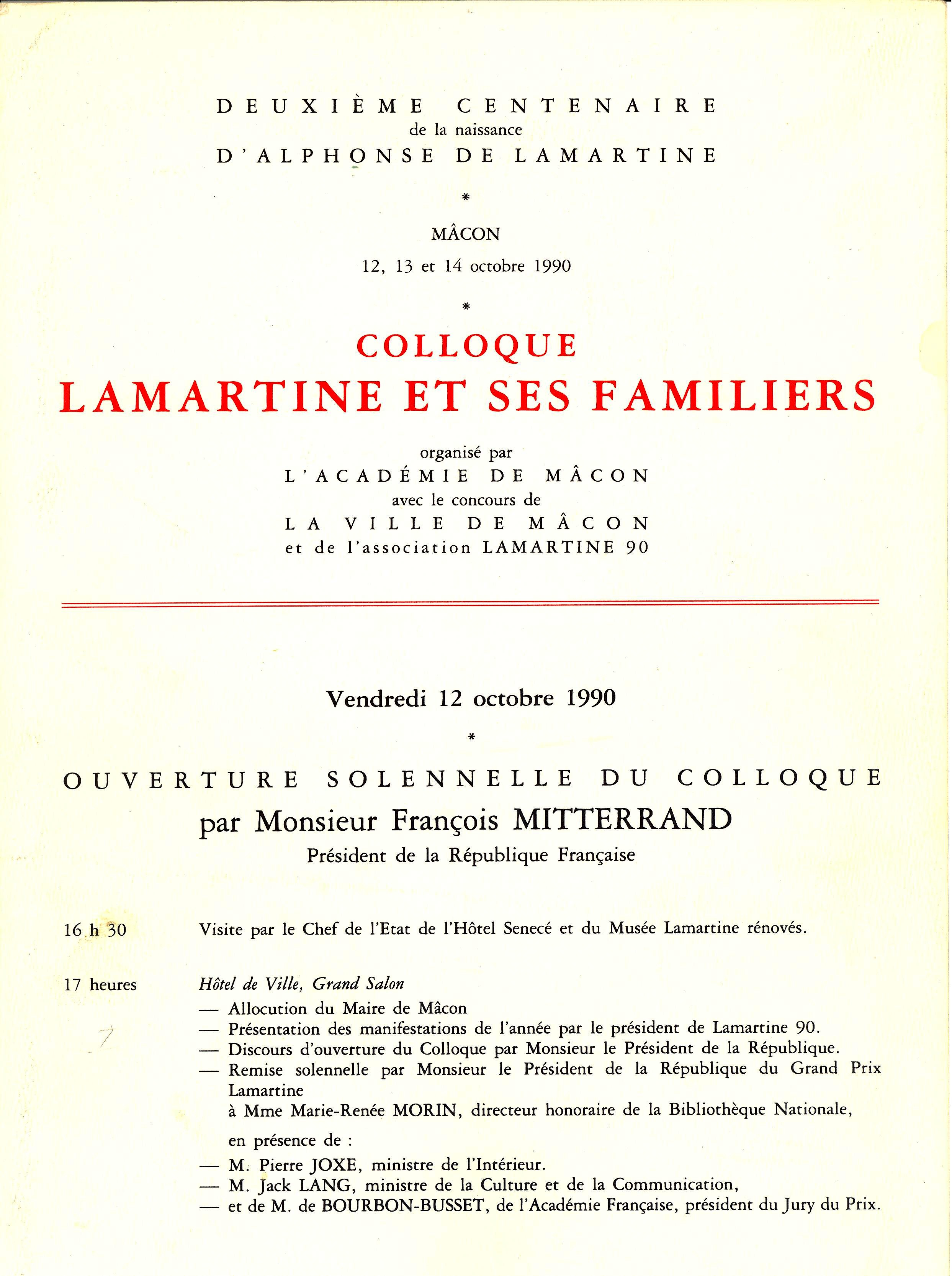 COLLOQUE LAMARTINE